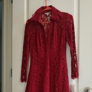 Formal/ casual  red , lace dress .